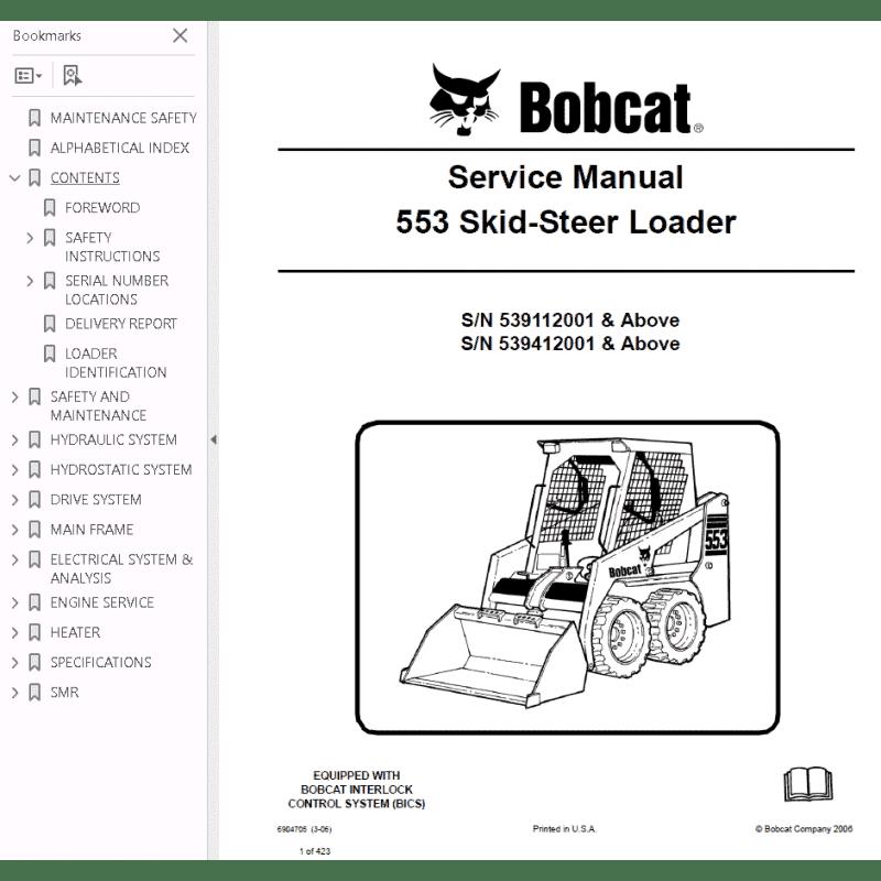 Bobcat Skid Steer Loader 553 Service Manual Pdf Download