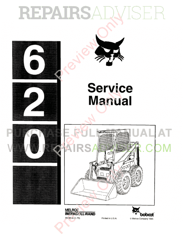 Bobcat Skid Steer Loader 620 Service Manual PDF image #1