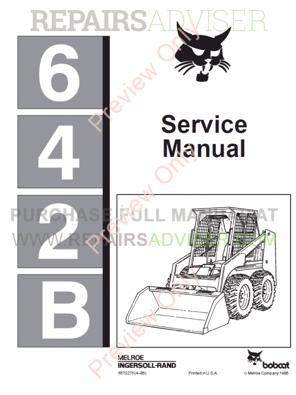 Bobcat Skid Steer Loader 642B Service Manual PDF
