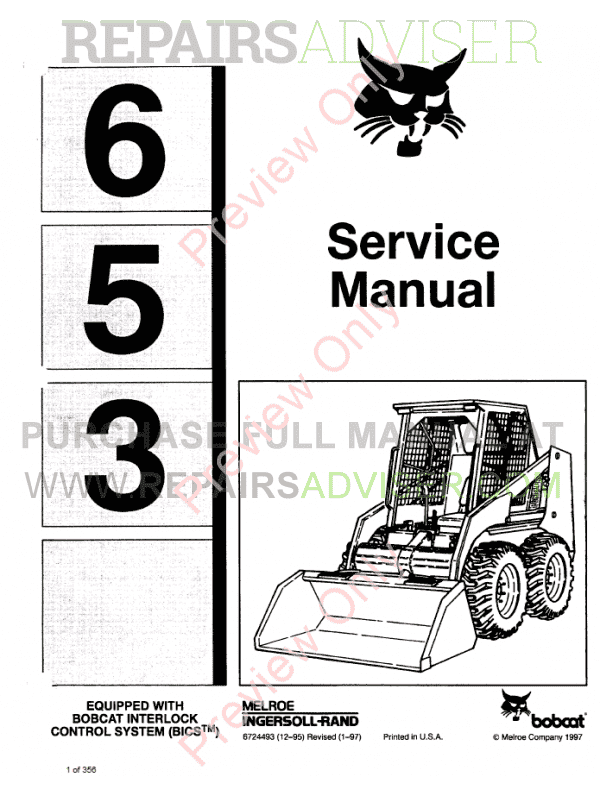 Bobcat Skid Steer Loader 653 Service Manual PDF