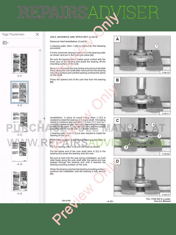 Bobcat Skid Steer Loader 753 Service Manual PDF Download