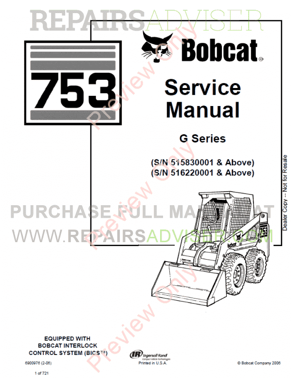 Bobcat Skid Steer Loader 753G Series Service Manual PDF image #1