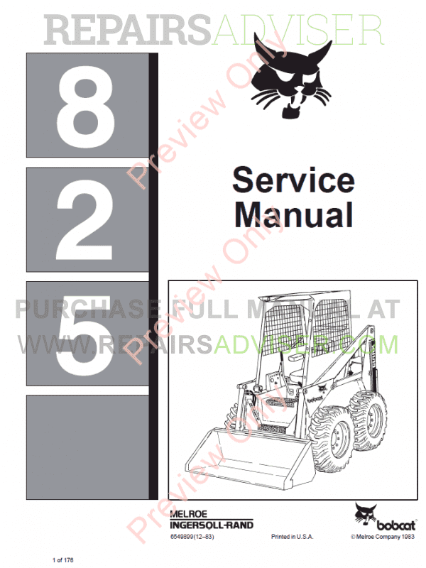 Bobcat Skid Steer Loader 825 Service Manual PDF image #1