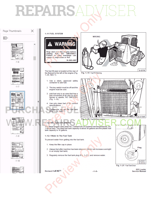 Bobcat Skid Steer Loader 825 Service Manual PDF, Bobcat Manuals by www.repairsadviser.com