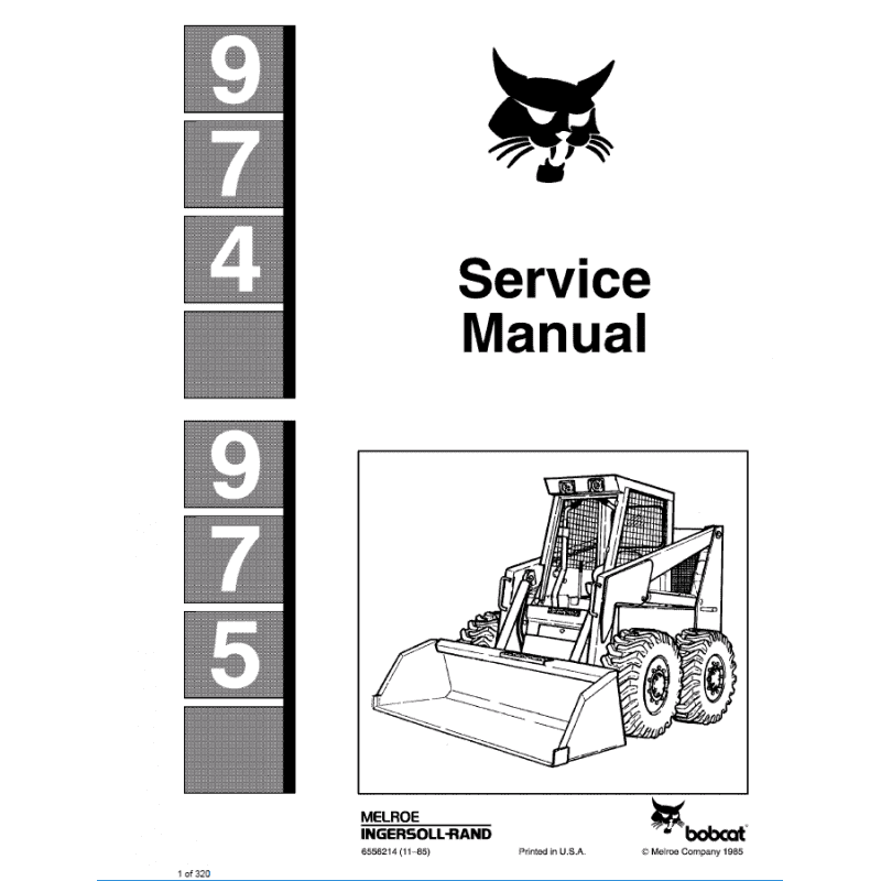 Bobcat Skid Steer Loader 974, 975 Service Manual PDF image #1