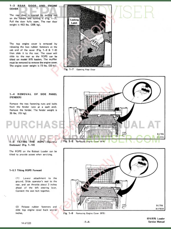 Bobcat Skid Steer Loader 974, 975 Service Manual PDF Download