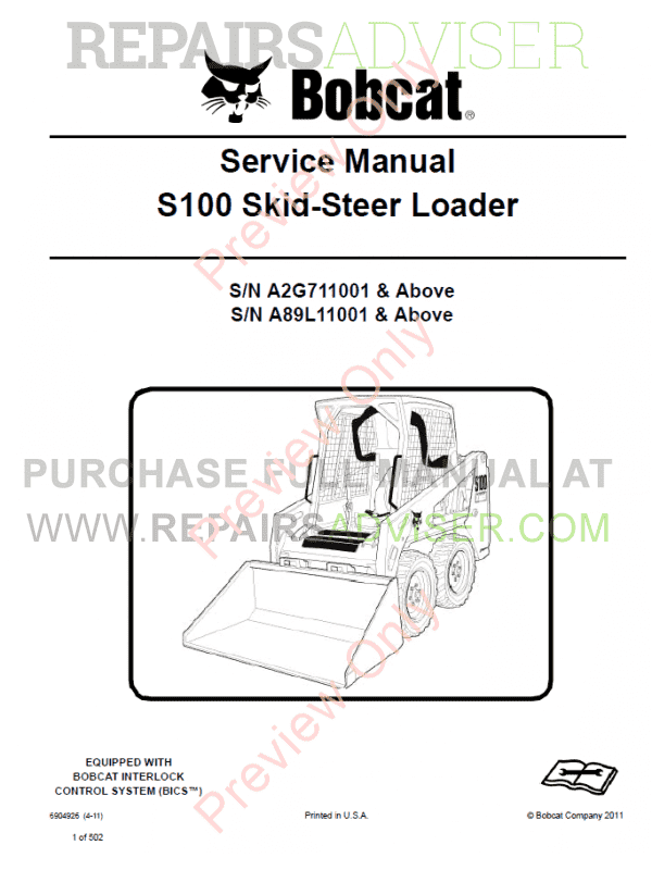 Bobcat Skid Steer Loader S100 Service Manual PDF image #1