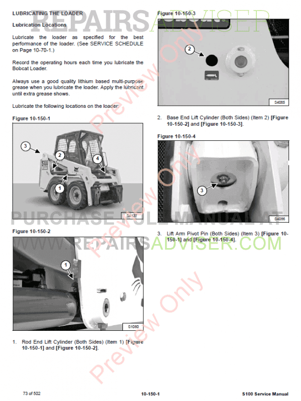 Bobcat Skid Steer Loader S100 Service Manual PDF, Bobcat Manuals by www.repairsadviser.com