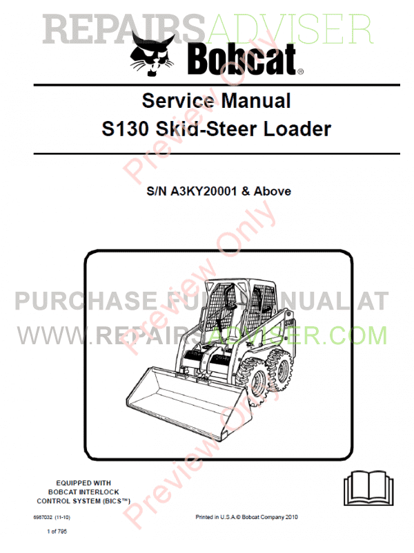 Bobcat Skid Steer Loader S130 Service Manual PDF image #1