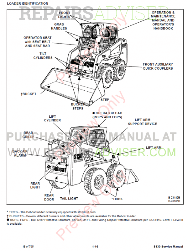 Bobcat Skid Steer Loader S130 Service Manual PDF, Bobcat Manuals by www.repairsadviser.com