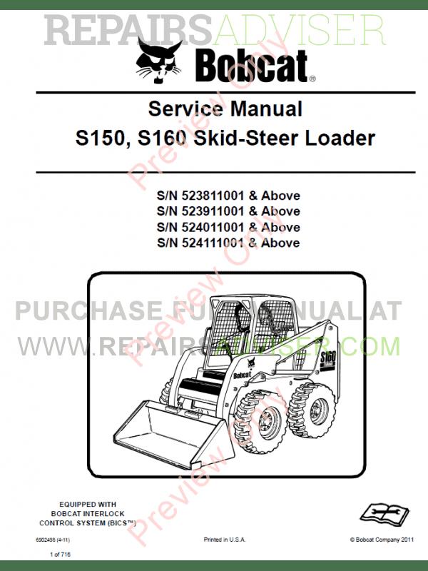 bobcat skid steer loader s150, s160 service manual pdf ... s150 bobcat wiring diagram