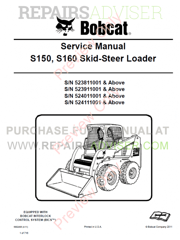 Bobcat Skid Steer Loader S150, S160 Turbo Service Manual PDF image #1