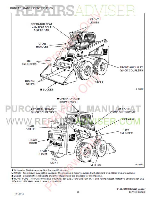 Bobcat Skid Steer Loader S150, S160 Turbo Service Manual PDF, Bobcat Manuals by www.repairsadviser.com