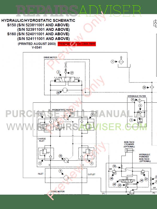 Bobcat Skid Steer Loader S150  S160 Turbo Service Manual