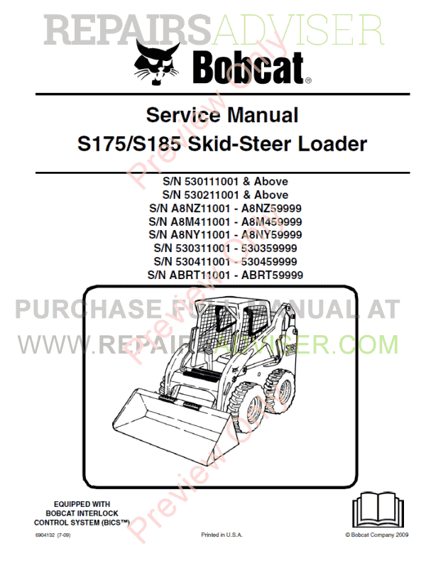 Bobcat Skid Steer Loader S175/S185 Service Manual PDF image #1