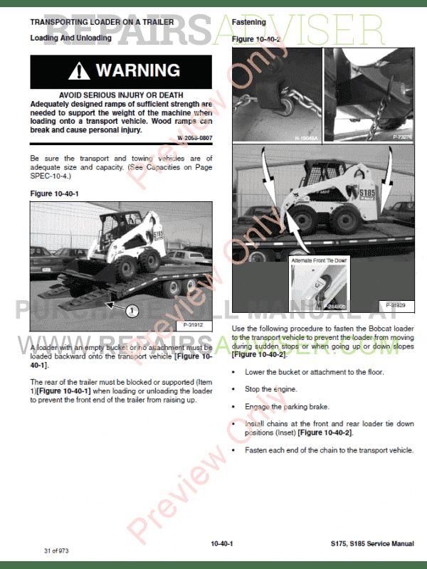 Bobcat Skid Steer Loader S175/S185 Service Manual PDF Download