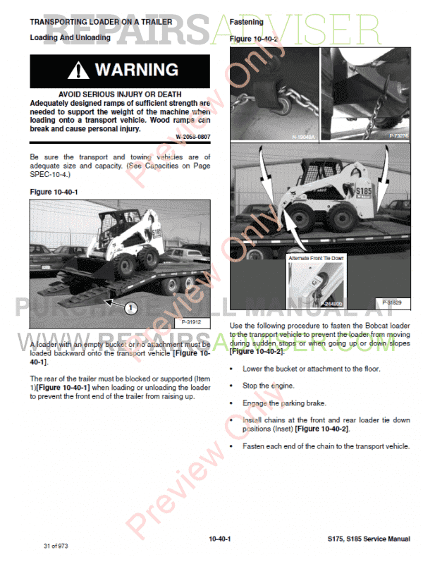 Bobcat Skid Steer Loader S175 S185 Service Manual PDF Download