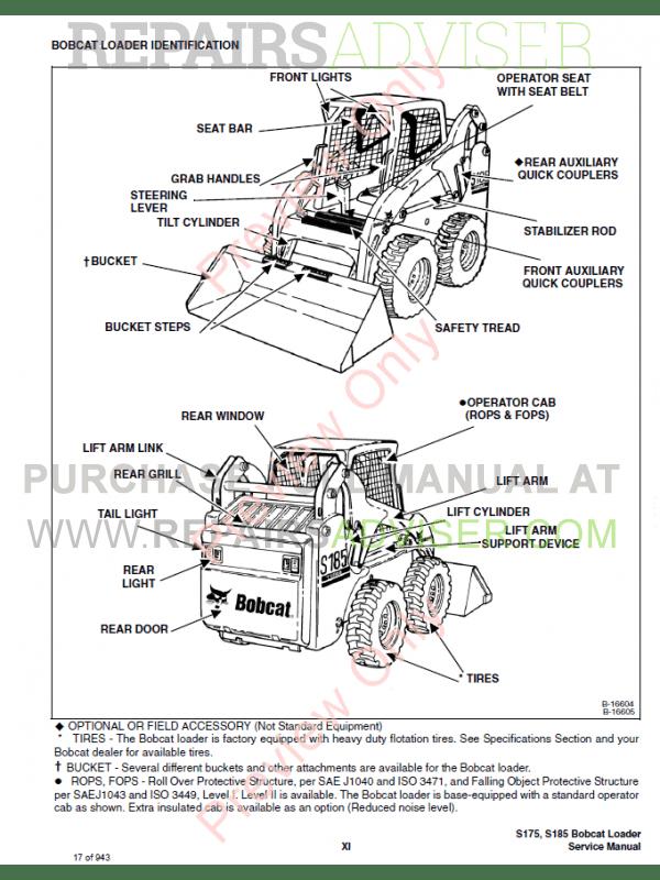 Bobcat Skid Steer Loader S175/185 Turbo Includes Service Manual PDF