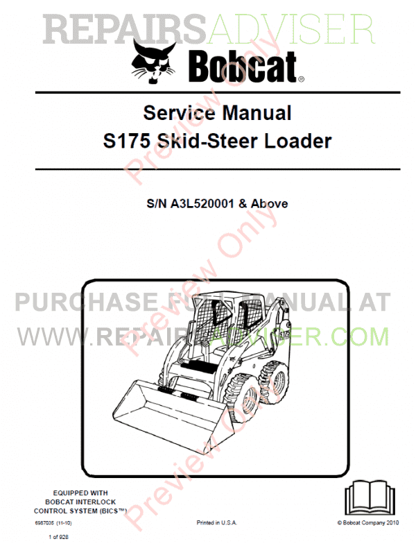 Bobcat Skid Steer Loader S175 Service Manual PDF