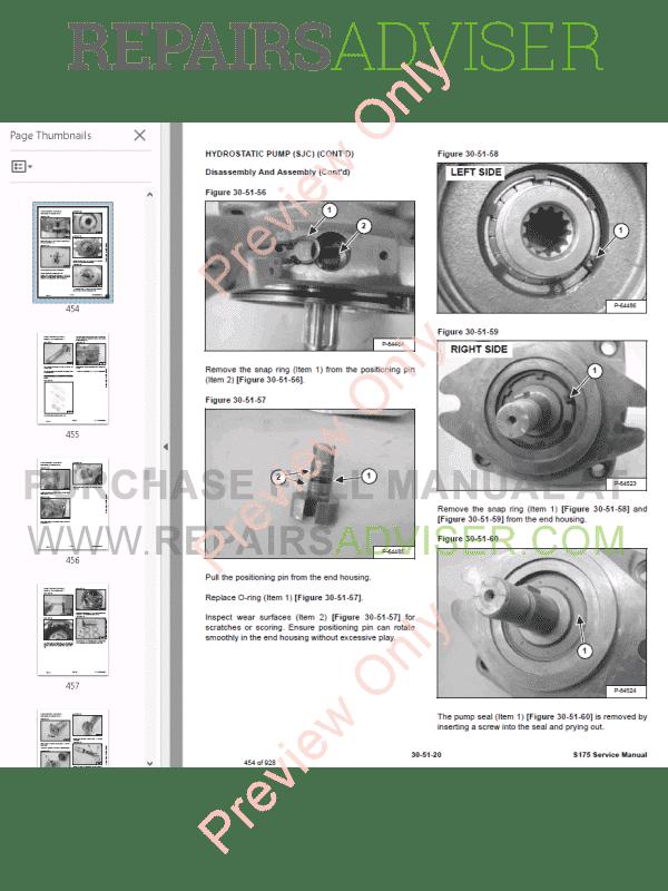 Bobcat Skid Steer Loader S175 Service Manual Pdf Download