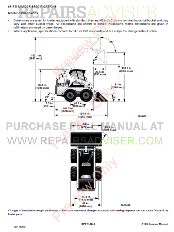 Bobcat Skid Steer Loader S175 Service Manual PDF, Bobcat Manuals by www.repairsadviser.com