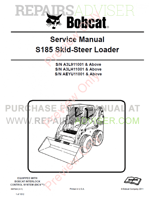 Bobcat Skid Steer Loader S185 Service Manual PDF