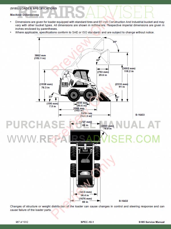 Bobcat Skid Steer Loader S185 Service Manual PDF Download