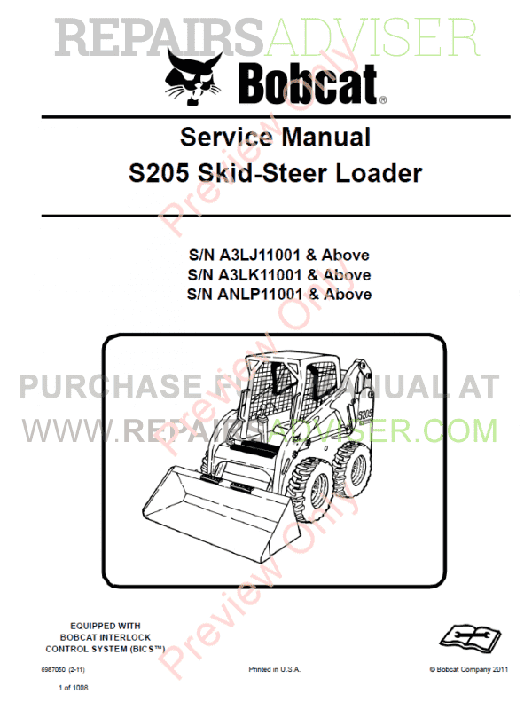 Bobcat Skid Steer Loader S205 Service Manual PDF