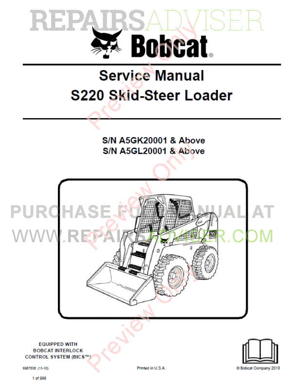 Bobcat Skid Steer Loader S220 Service Manual PDF image #1