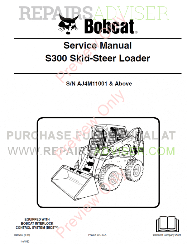 Bobcat Skid Steer Loader S300 Service Manual PDF