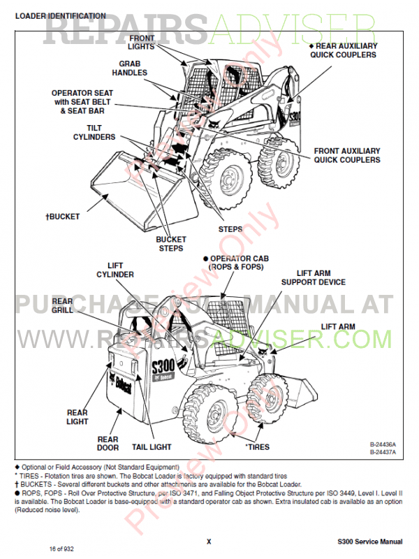 Bobcat Skid Steer Loader S300 Service Manual PDF, Bobcat Manuals by www.repairsadviser.com