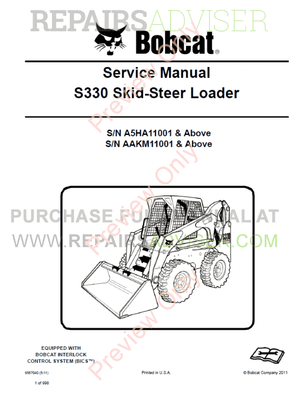 Bobcat Skid Steer Loader S330 Service Manual PDF image #1