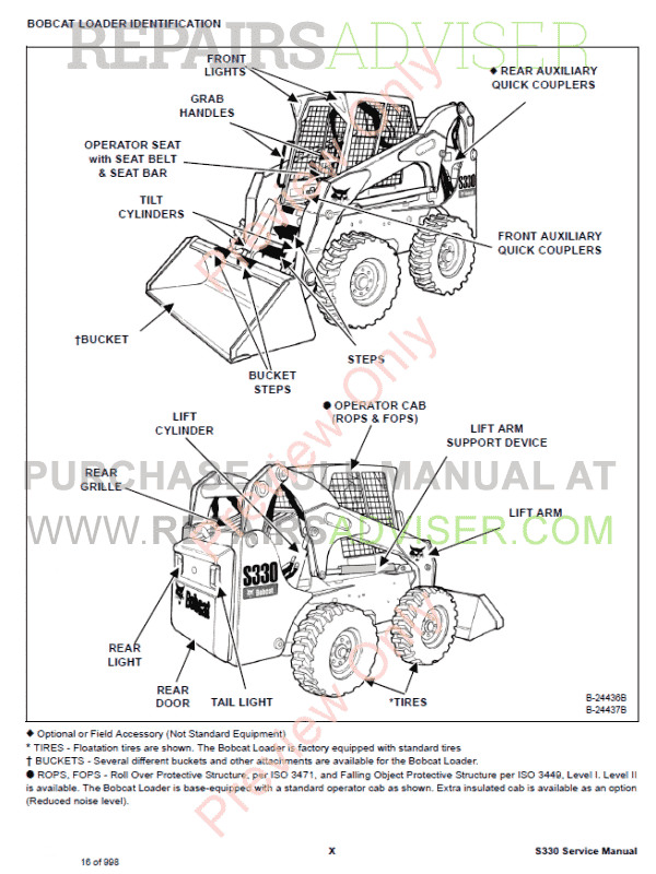 Bobcat Skid Steer Loader S330 Service Manual PDF, Bobcat Manuals by www.repairsadviser.com