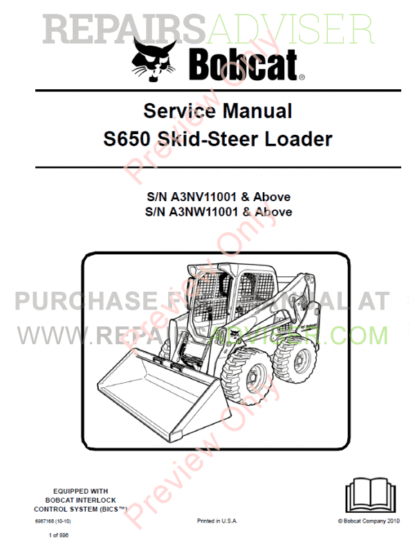 Bobcat Skid Steer Loader S650 Service Manual PDF image #1