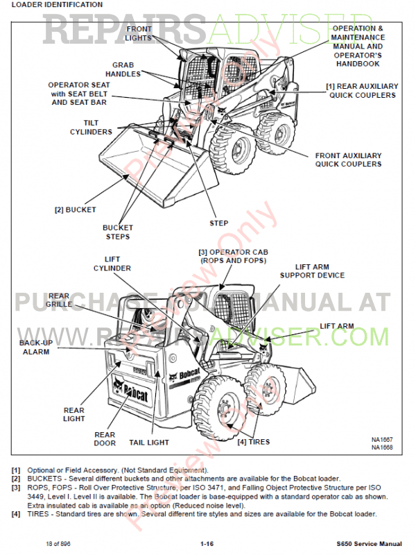 Bobcat Skid Steer Loader S650 Service Manual PDF, Bobcat Manuals by www.repairsadviser.com