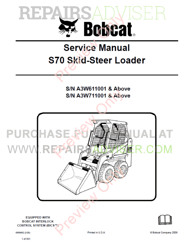 Bobcat Skid Steer Loader S70 Service Manual PDF image #1