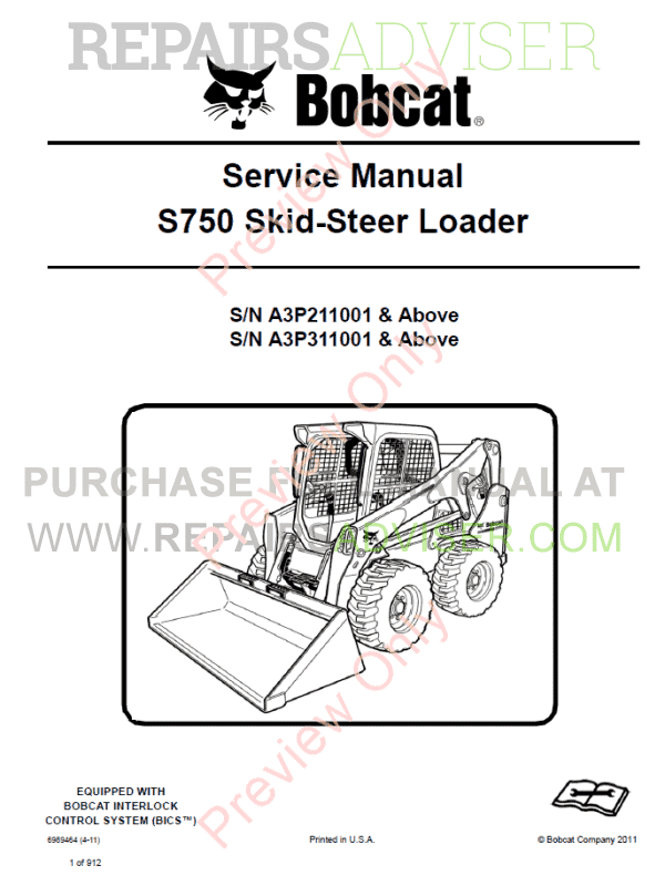 Bobcat Skid Steer Loader S750 Service Manual PDF Download