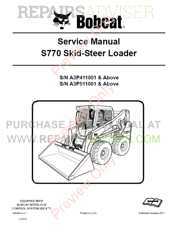 Bobcat S770 Skid-Steer Loader Service manual 4-11 PDF ...