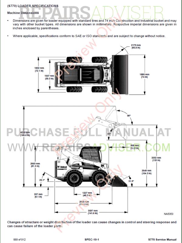 bobcat skid steer loader s770 service manual pdf download