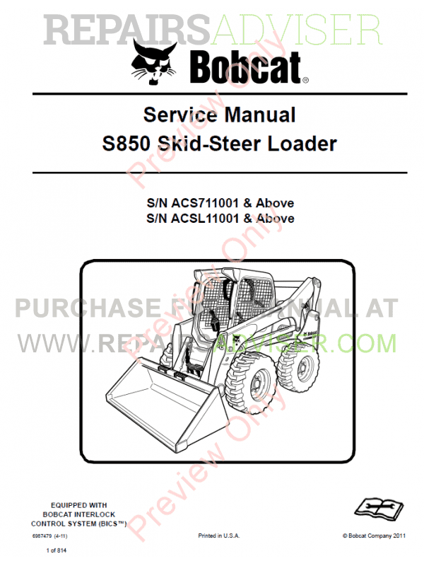 Bobcat Skid Steer Loader S850 Service Manual PDF image #1