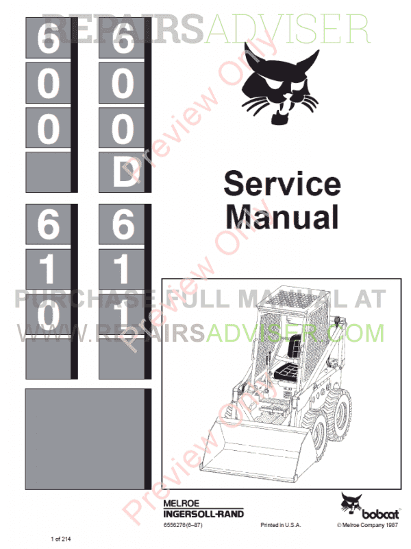Bobcat Skid Steer Loaders 600, 600D, 610, 611 Service Manual PDF image #1
