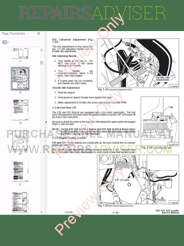 Bobcat Skid Steer Loaders 630, 631, 632 Service Manual PDF