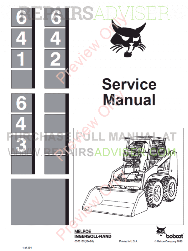 Bobcat Skid Steer Loaders 641, 642, 643 Service Manual PDF image #1
