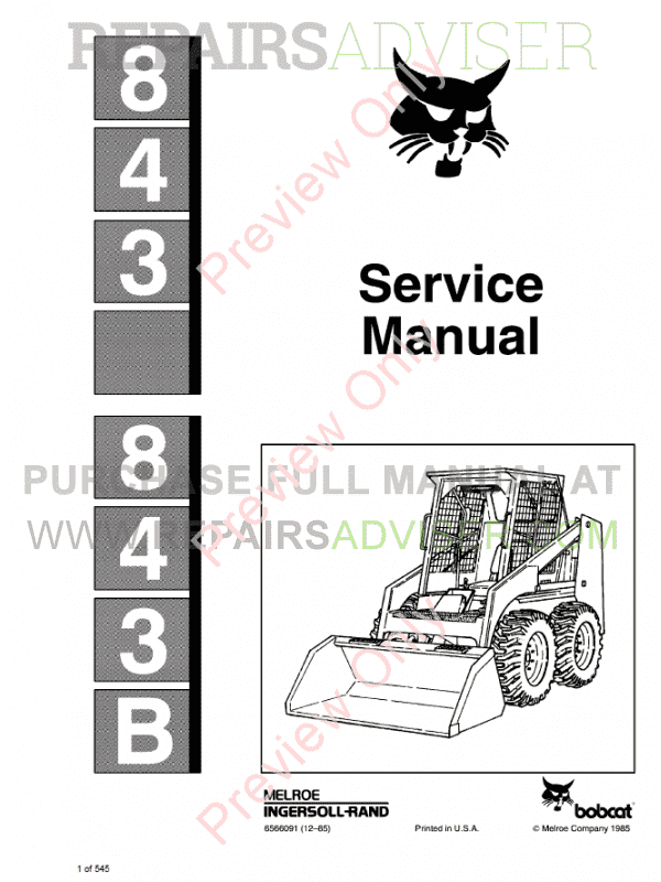 Bobcat Skid Steer Loaders 843, 843B Service Manual PDF image #1