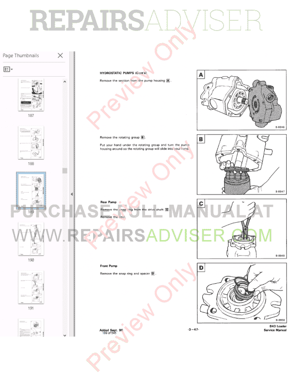 Bobcat Skid Steer Loaders 843, 843B Service Manual PDF, Bobcat Manuals by www.repairsadviser.com