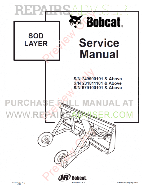 Bobcat Sod Layer PDF Service Manual