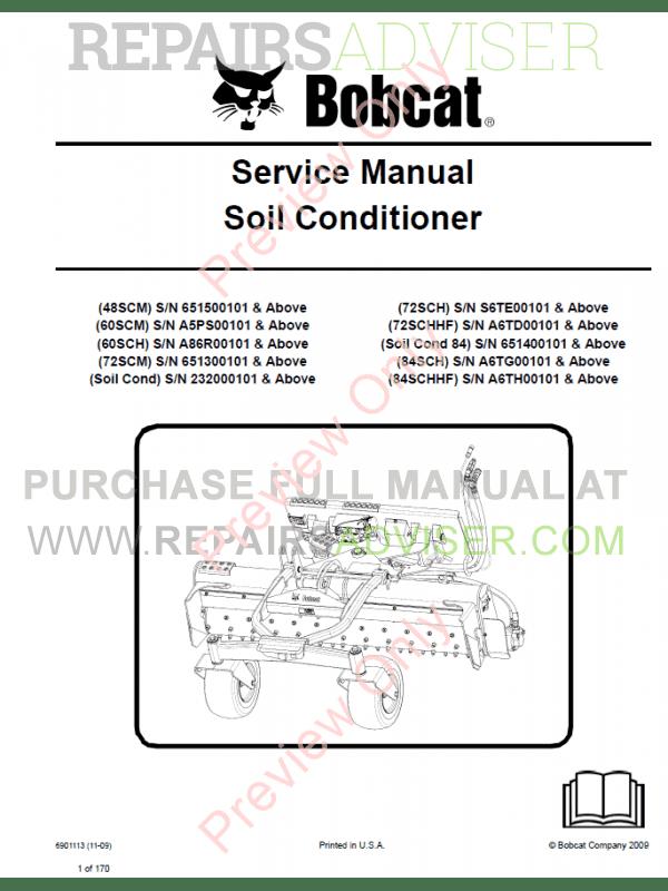 Bobcat Soil Conditioner Service Manual PDF Download
