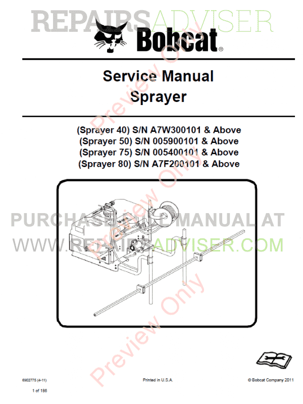 Bobcat Sprayers Service Manual PDF image #1