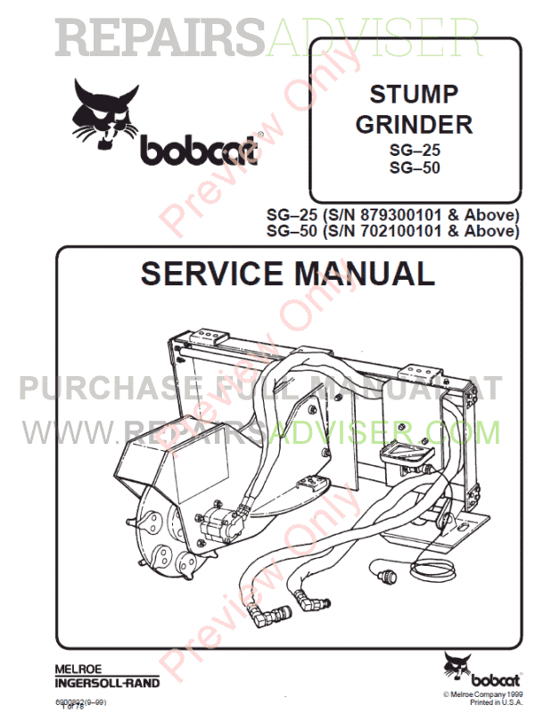 Bobcat Stump Grinder SG-25, SG-50 Service Manual PDF image #1