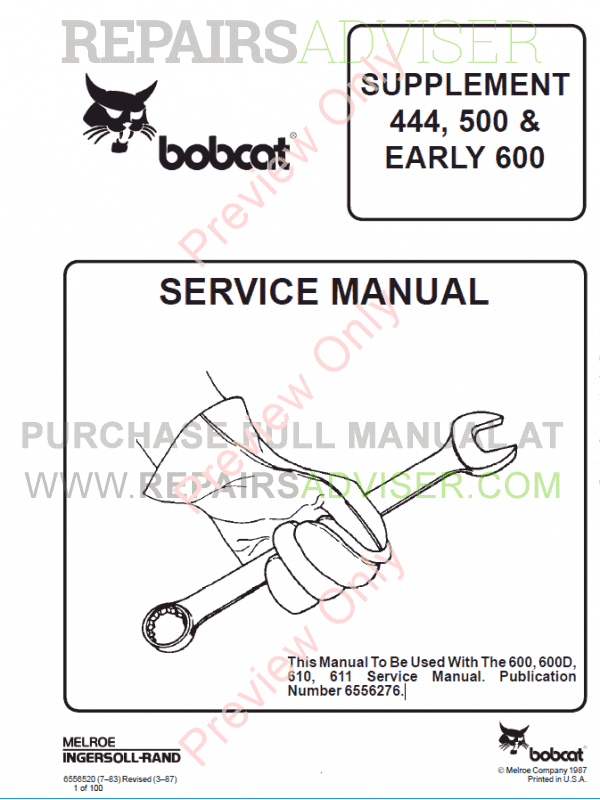 Bobcat Supplement 444, 500 and Early 600 Loaders Service Manual PDF image #1